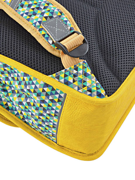 Cartable 2 Compartiments Cameleon Jaune retro RET-CA35 vue secondaire 1