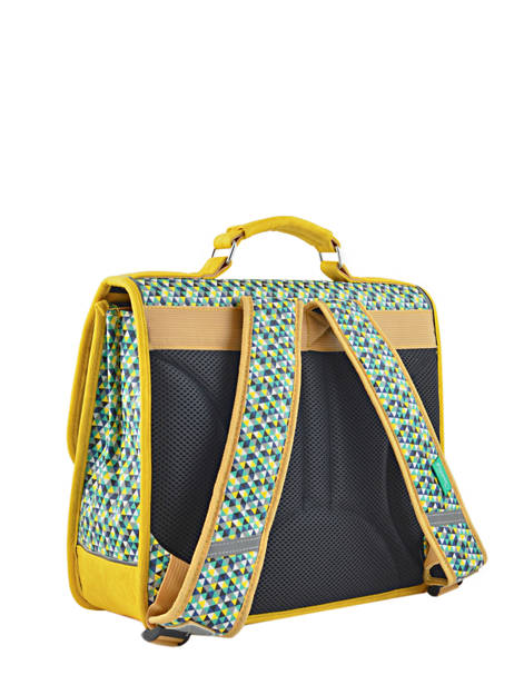 Cartable 2 Compartiments Cameleon Jaune retro RET-CA35 vue secondaire 4
