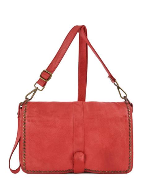 Shoulder Bag Dewashed Leather Milano Red dewashed DE17112