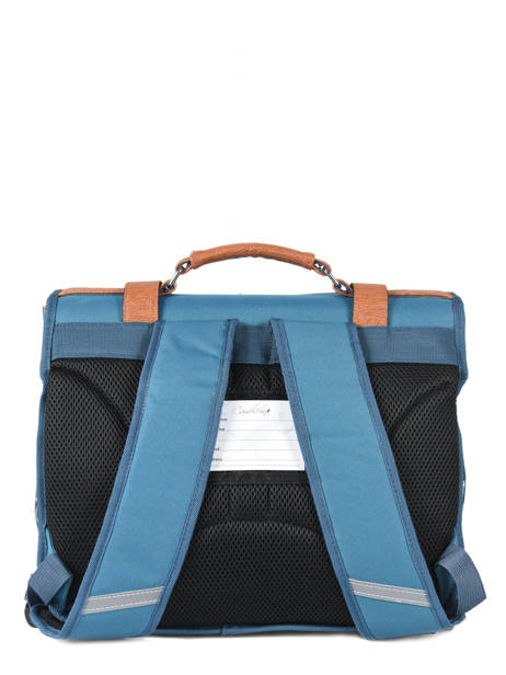Cartable 2 Compartiments Cameleon Bleu vintage VINCA35 vue secondaire 4