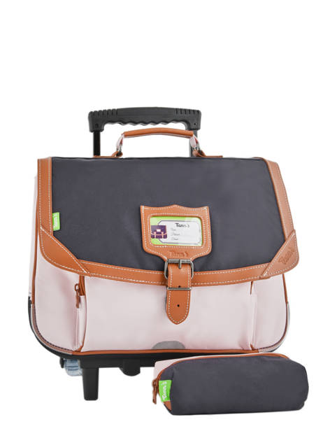 Wheeled Schoolbag With Matching Pencil Case Tann's Pink iconic 18-42123