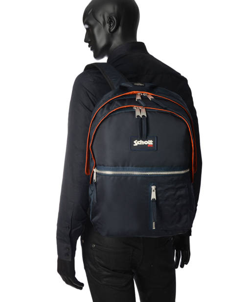 Backpack 2 Compartments Schott Blue army 18-63702 other view 3