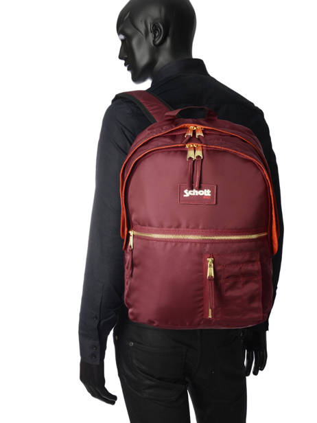 Backpack 2 Compartments Schott Red army 18-63704 other view 3