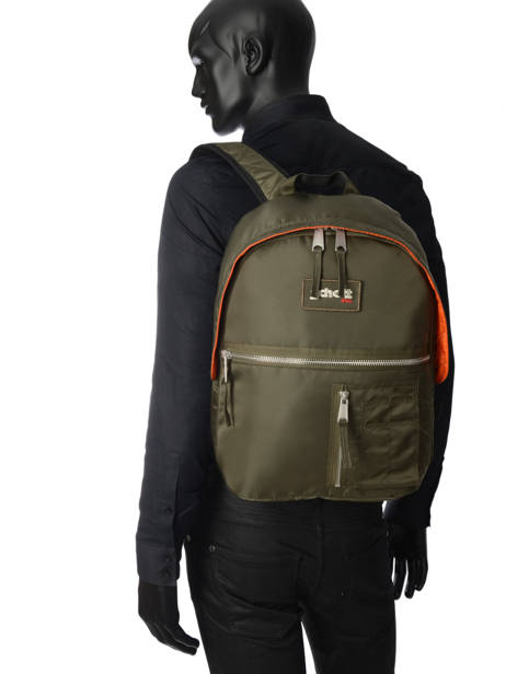 Backpack 1 Compartment Schott Green army 18-62707 other view 3