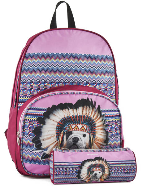 Backpack 2 Compartments With Free Pencil Case Teo jasmin Violet teo apache TAI22038