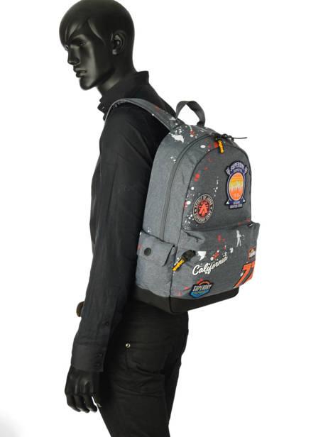 Sac A Dos 1 Compartiment Superdry Gris backpack men M91013NQ vue secondaire 2