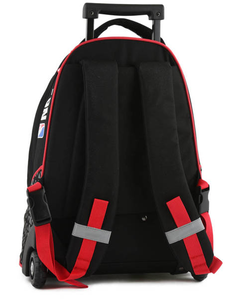 Wheeled Backpack 2 Compartments Nba Black basket 183N204R other view 4