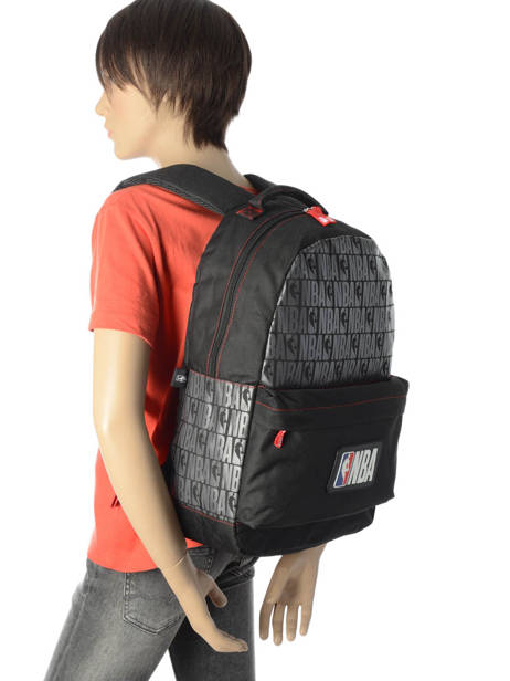 Backpack 1 Compartment Nba Black basket 183N204B other view 2