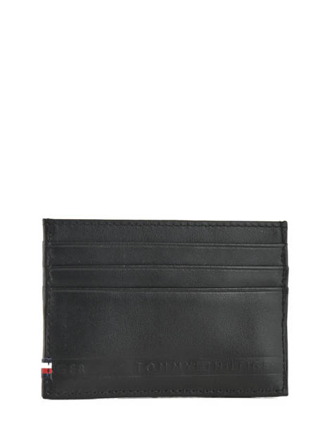Porte-cartes Cuir Tommy hilfiger Noir selvedge emboss AM03666 vue secondaire 1