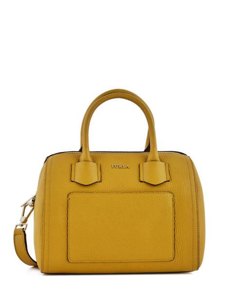 Small Tote Bag Alba Leather Furla Yellow alba FAB-BTE3