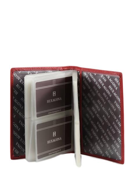 Porte Cartes Toucher Cuir Hexagona Rouge toucher 627075 vue secondaire 1