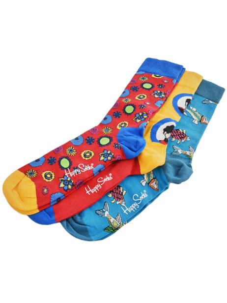 Coffret Cadeau 3 Paires De Chaussettes The Beatles Happy socks Orange pack XBEA08 vue secondaire 2