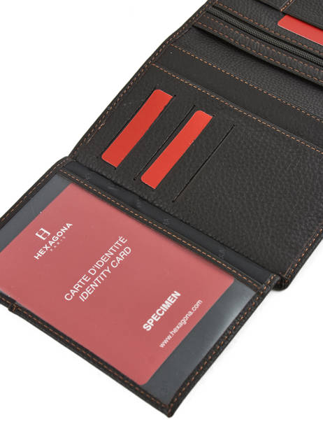 Wallet Leather Hexagona Brown toucher 627609 other view 3
