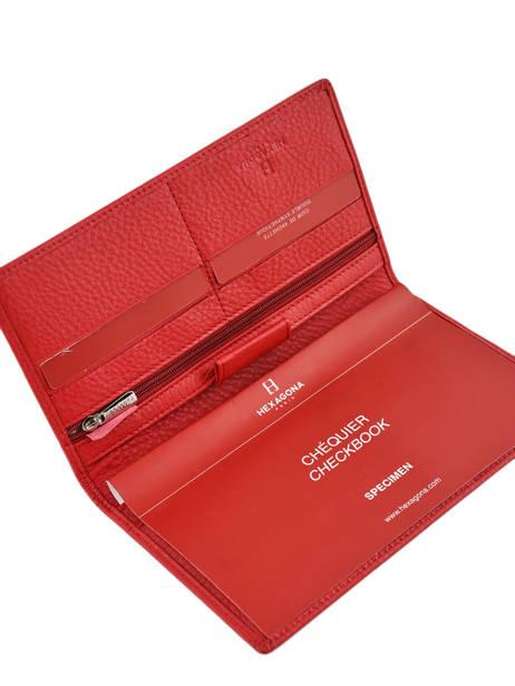 Porte-chéquier Cuir Hexagona Rouge toucher 627071 vue secondaire 2