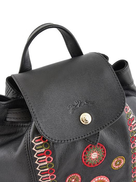 Longchamp Le pliage cuir rosace Sac à dos Noir