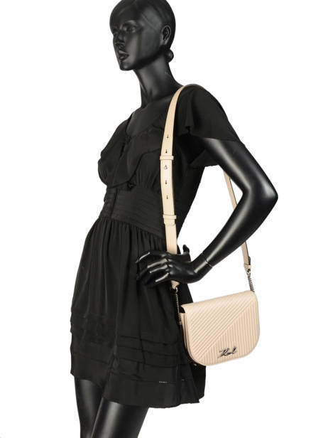Sac Bandoulière Signature Quilted Cuir Karl lagerfeld Beige signature quilted 91KW3064 vue secondaire 2