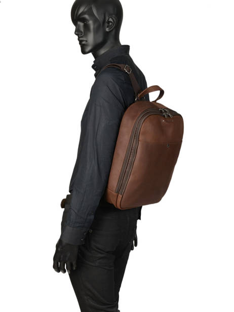 Backpack 2 Compartments Les ateliers foures Brown 9448 other view 2