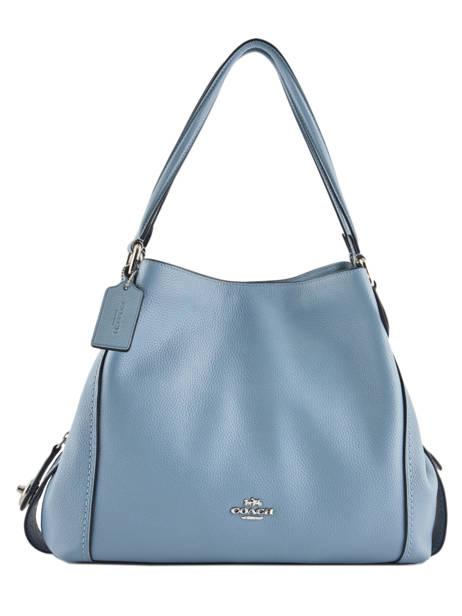Sac Shopping Edie 31 Cuir Coach Bleu edie 57125