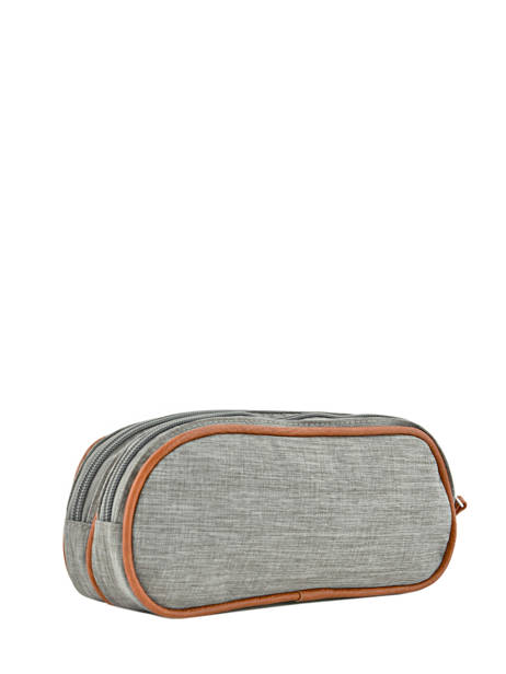Pencil Case For Girls 2 Compartments Cameleon Gray vintage print girl VIG-TROU other view 2