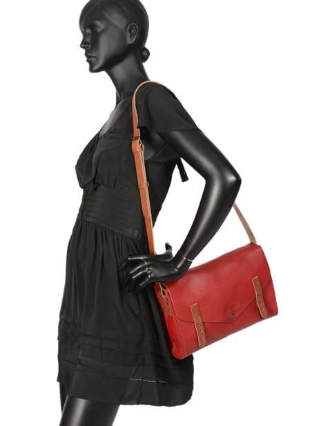 Shoulder Bag Vintage Leather Paul marius Red vintage INDISPEN other view 2