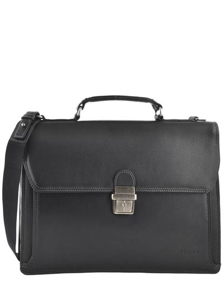 Briefcase 1 Compartment Etrier Black flandres EFLA01