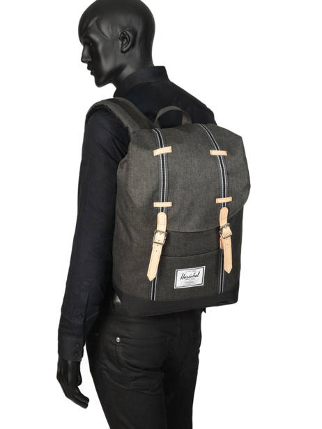 Backpack 1 Compartment Herschel Black offset 10066-O other view 2