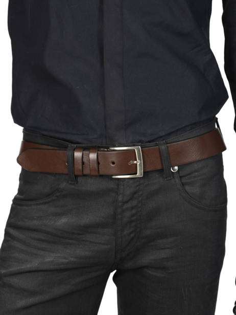 Men's Belt Extra Petit prix cuir Brown extra 224-40 other view 2