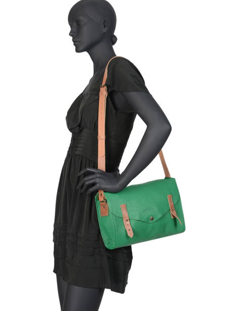 Shoulder Bag Vintage Leather Paul marius Green vintage INDISPEN other view 2