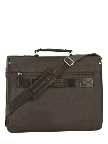 Briefcase 2 Compartments Hexagona Brown worker D74303 other view 3
