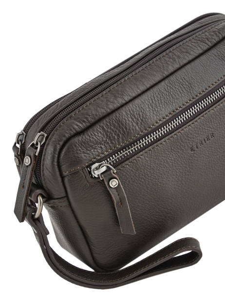 Leather Men's Pocket Bag Foulonné Etrier Brown foulonne EFOU11 other view 1