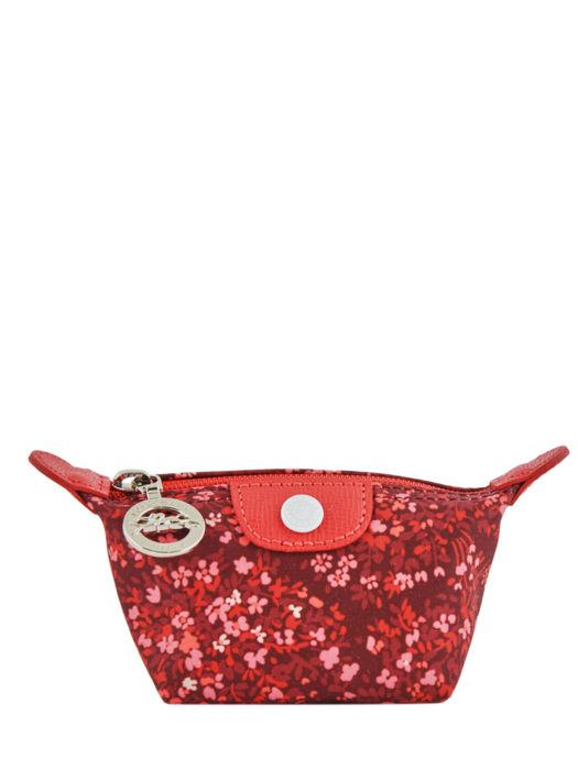 Longchamp Le pliage fleurs Porte-monnaie Rouge