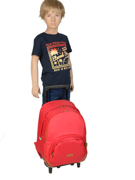 Wheeled Backpack With Matching Pencil Case Tann's Red les unis 73117 other view 2
