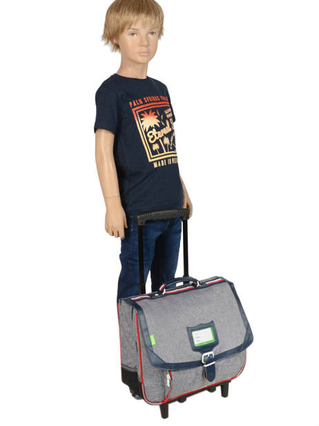 Wheeled Schoolbag 2 Compartments Tann's Gray les chines 42138 other view 2