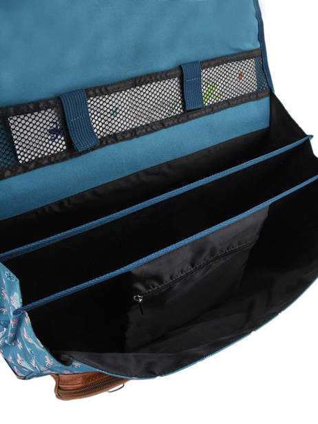 Satchel For Girls 3 Compartments Cameleon Blue vintage print girl VIG-CA41 other view 5