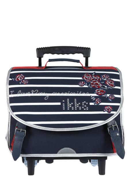 Wheeled Schoolbag 2 Compartments Ikks Blue i love my mariniere 42821