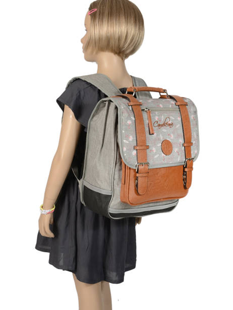 Backpack For Girls 2 Compartments Cameleon Gray vintage print girl VIG-SD38 other view 3