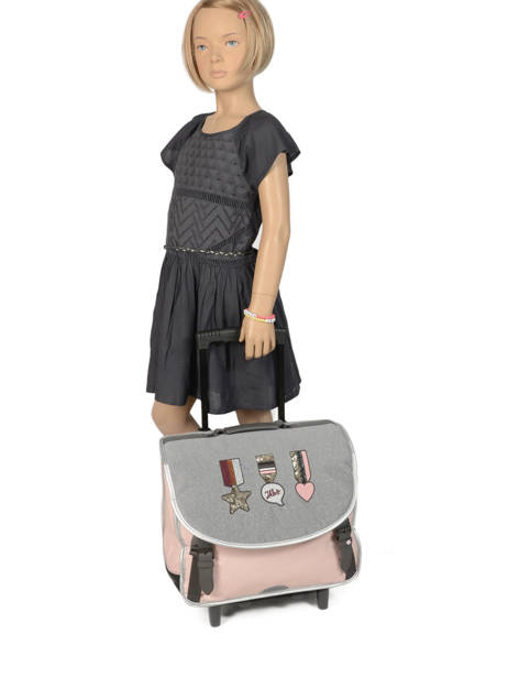 Wheeled Schoolbag 2 Compartments Ikks Gray urban lab 42513 other view 2