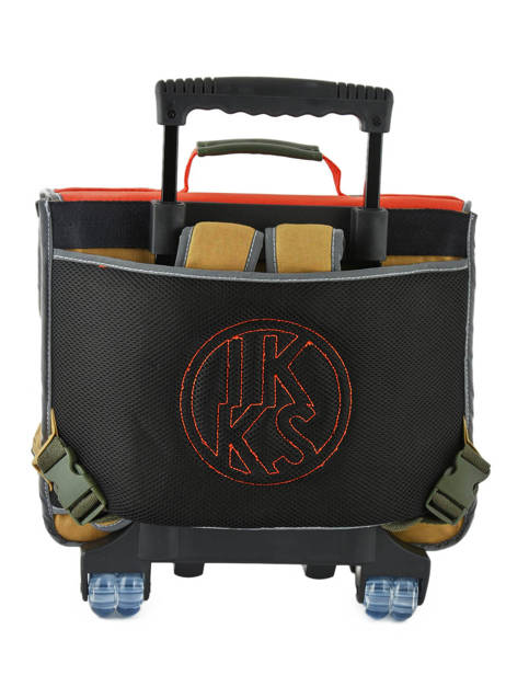 Wheeled Schoolbag 2 Compartments Ikks Orange army 42526 other view 4