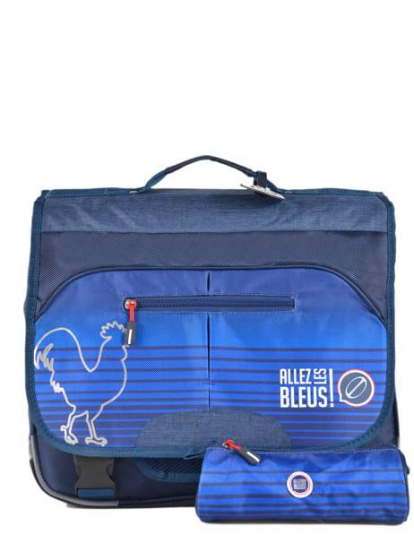 Satchel 2 Compartments With Free Pencil Case Allez les bleus Blue world cup ALB12309 other view 1