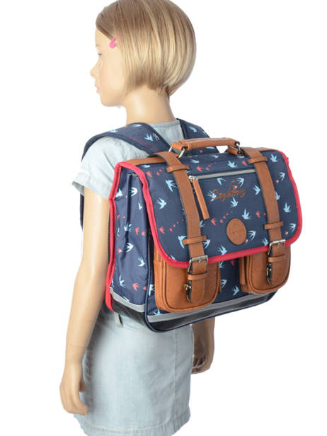 Wheeled Schoolbag For Girls 2 Compartments Cameleon Blue vintage print girl PBVGCA35 other view 2