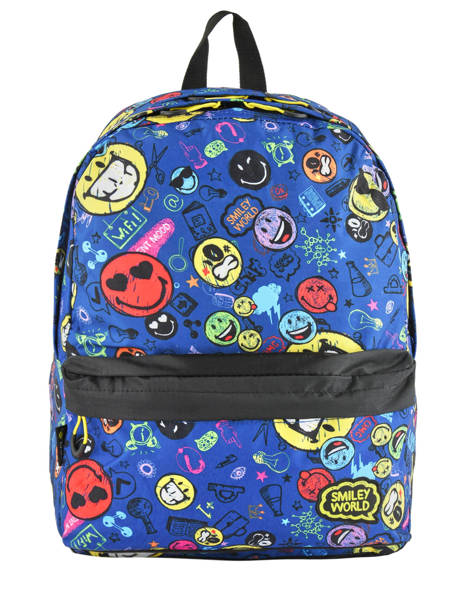 Sac A Dos 2 Compartiments Avec Trousse Offerte Smiley Blue study SLX22038 other view 1
