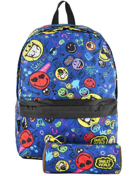 Sac A Dos 2 Compartiments Avec Trousse Offerte Smiley Blue study SLX22038