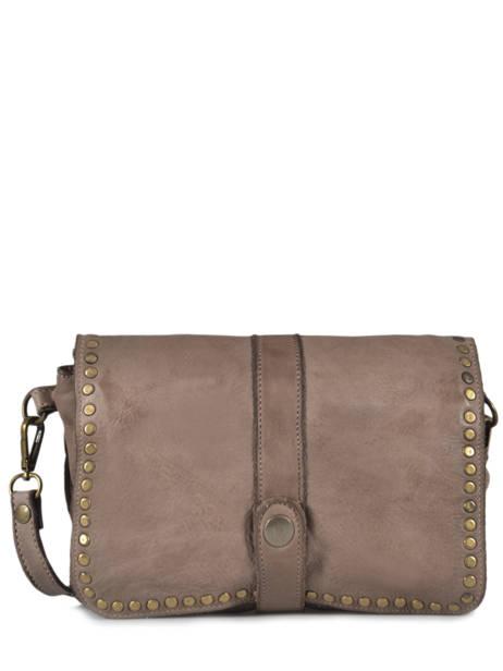 Shoulder Bag Dewashed Leather Milano Gray dewashed DE17111