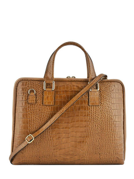 Leather Croco Briefcase Milano Brown CR19064 other view 2