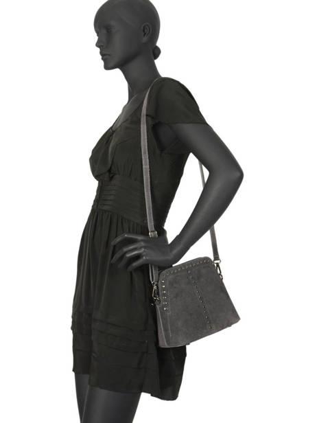 Shoulder Bag Velvet Leather Milano Gray velvet VE19041 other view 1