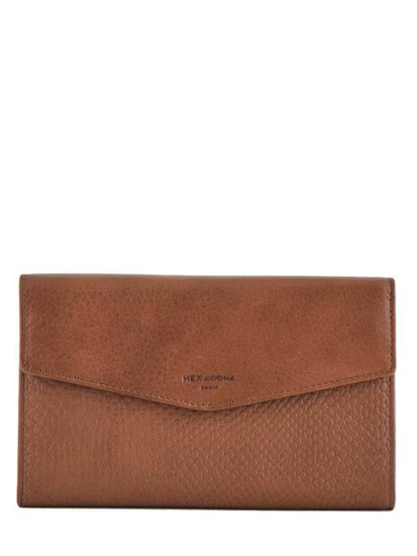 Continental Wallet Leather Hexagona Brown inaya 417701