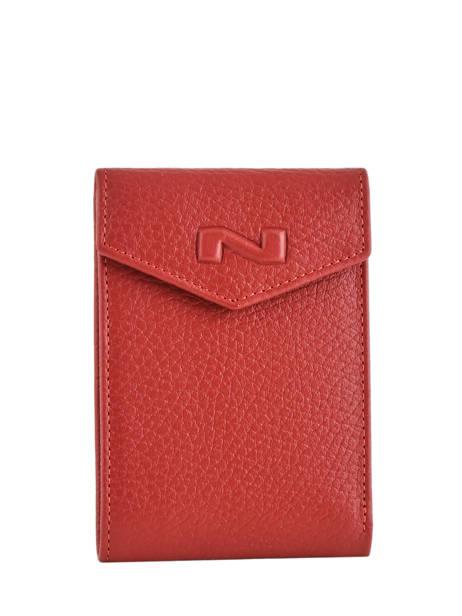 Porte-cartes Cuir Nathan baume Rouge original n 225N