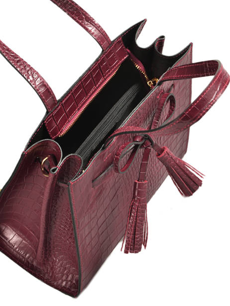 Leather Croco Bow Satchel Milano Red CR19091 other view 3