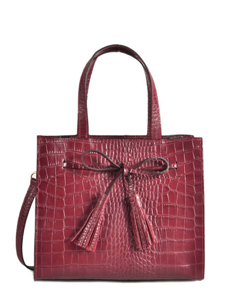 Leather Croco Bow Satchel Milano Red CR19091