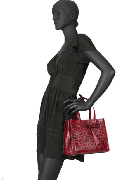 Leather Croco Bow Satchel Milano Red CR19091 other view 1